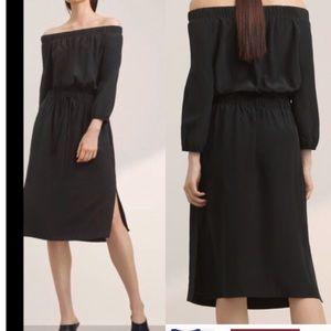 Babaton off the shoulder silk dress sz small black